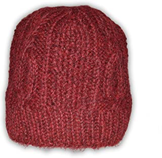 Invisible World Women's 100% Alpaca Wool Hand Knit Cabled Beanie Hat Scarlet