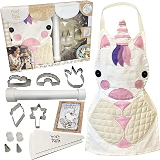 Hapinest Kids Baking Set for Girls Gifts Ages 4 5 6 7 8 Year Old Make and Bake Cookies Unicorn Apron and Cookie Cutters, 1...