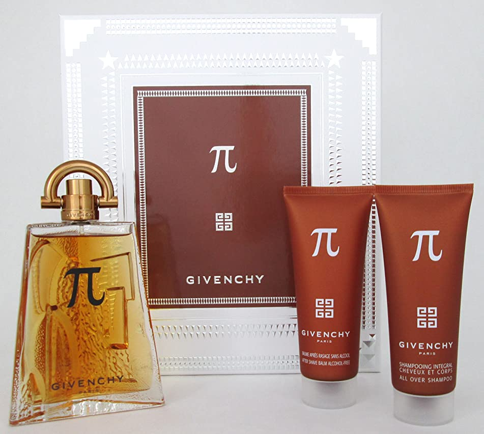 Pi Givenchy Gift Set for Men (All Over Shampoo 2.5 oz+After Shave Balm 2.5 oz+Eau De Toilette Spray 3.3 oz)