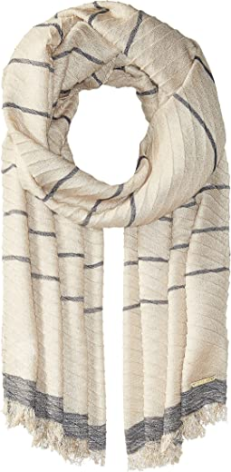 Pleated Metallic Yarn-Dyed Scarf