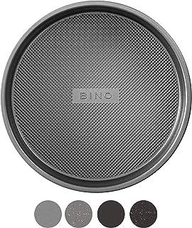 BINO Bakeware Nonstick Round Pan Baking Tray, 9 Inch - Gunmetal | Premium Quality Textured Baking Sheet with Even-Flow Tec...