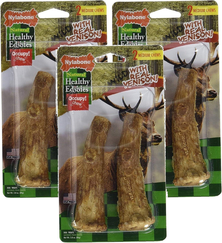 (3 Pack) Nylabone Healthy Edibles Edible Antler Real Venison Dog Treats, 2 Treats Each
