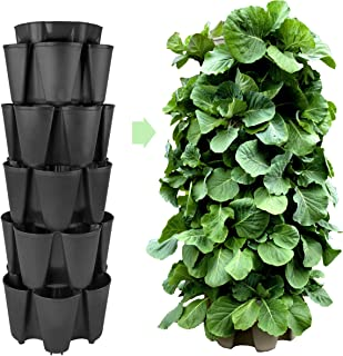 Huge GreenStalk 5 Tier Vertical Garden Planter w/Patented Internal Watering System Great for Growing a Variety of Strawberries, Vegetables, Herbs, Flowers on a Balcony or Deck (Beautiful Black)