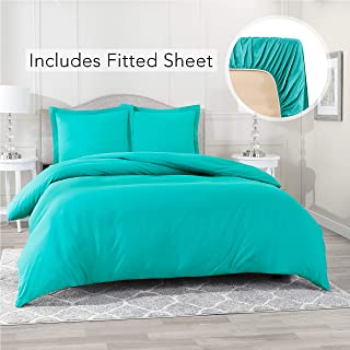 Nestl Bedding Duvet Cover with Fitted Sheet 3 Piece Set - Soft Double Brushed Microfiber Hotel Collection - Comforter Cover with Button Closure, Fitted Sheet, 1 Pillow Sham, Twin XL - Teal