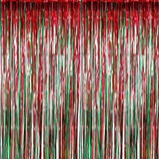 Sumind 4 Pack Foil Curtains Metallic Fringe Curtains Shimmer Curtain for Birthday Wedding Party Christmas Decorations (Red and Green)