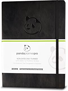 """Panda Planner Pro - Best Daily Planner for Happiness & Productivity - 8.5 x 11"""" Softcover - Undated Day - Guaranteed to Get You Organized - Gratitude & Goals Journal (Black)"""