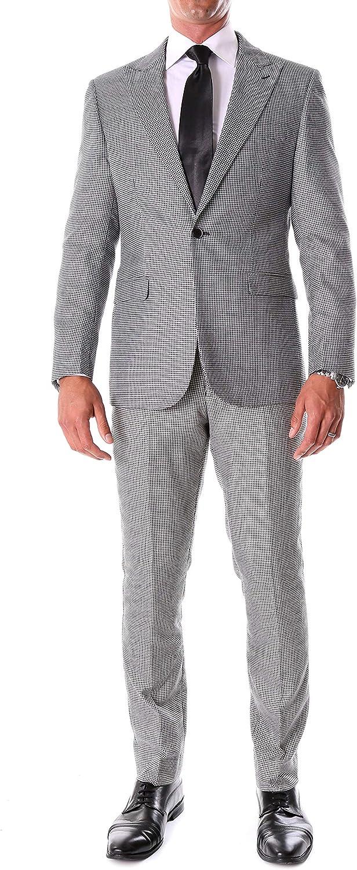 Ferrecci Men's Stanford Slim Fit Houndstooth Peak Lapel 2pc Suit