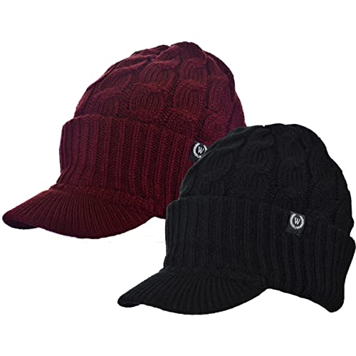 69b9e9cc799 Winter Newsboy Cable Knitted Visor Beanie Bill Winter Warm Hat (Black    Burgundy)