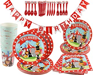 Circus Carnival Birthday Party Decoration Supplies Kit 141 Piece (Serves 20) Plates Cups Napkins Banner
