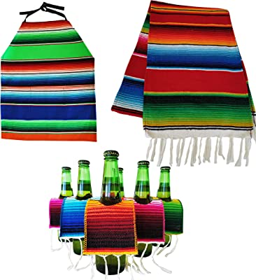Yani's Gifts 6 Beer Ponchos Mini Serapes, Matching Serape Table Runner and Apron (Assorted) for Cinco de Mayo or a Mexican Party Fiesta, Beer Covers for a 6 Pack or a Tequila or Margarita Mix Bottle