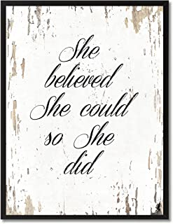 She Believed She Could So She Did Quote Saying Canvas Print Home Decor Wall Art Gift Ideas, Black Picture Frame, White, 7