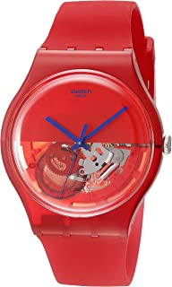 Swatch Women's SUOR103 Dipred Year-Round Analog Quartz Red Watch