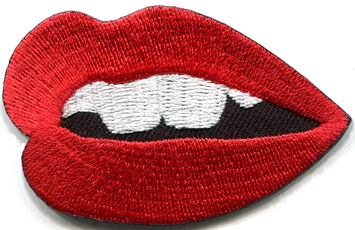 Lips mouth kiss sexy retro disco 70s embroidered applique iron-on patch new S-1359