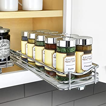 "Lynk Professional Slide Out Spice Rack Upper Cabinet Organizer, 4-1/4"" Single, Chrome"
