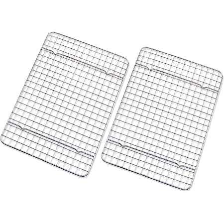 """Checkered Chef Cooling Rack - Set of 2 Stainless Steel, Oven Safe Grid Wire Racks for Cooking & Baking - 8"""" x 11 ¾"""""""