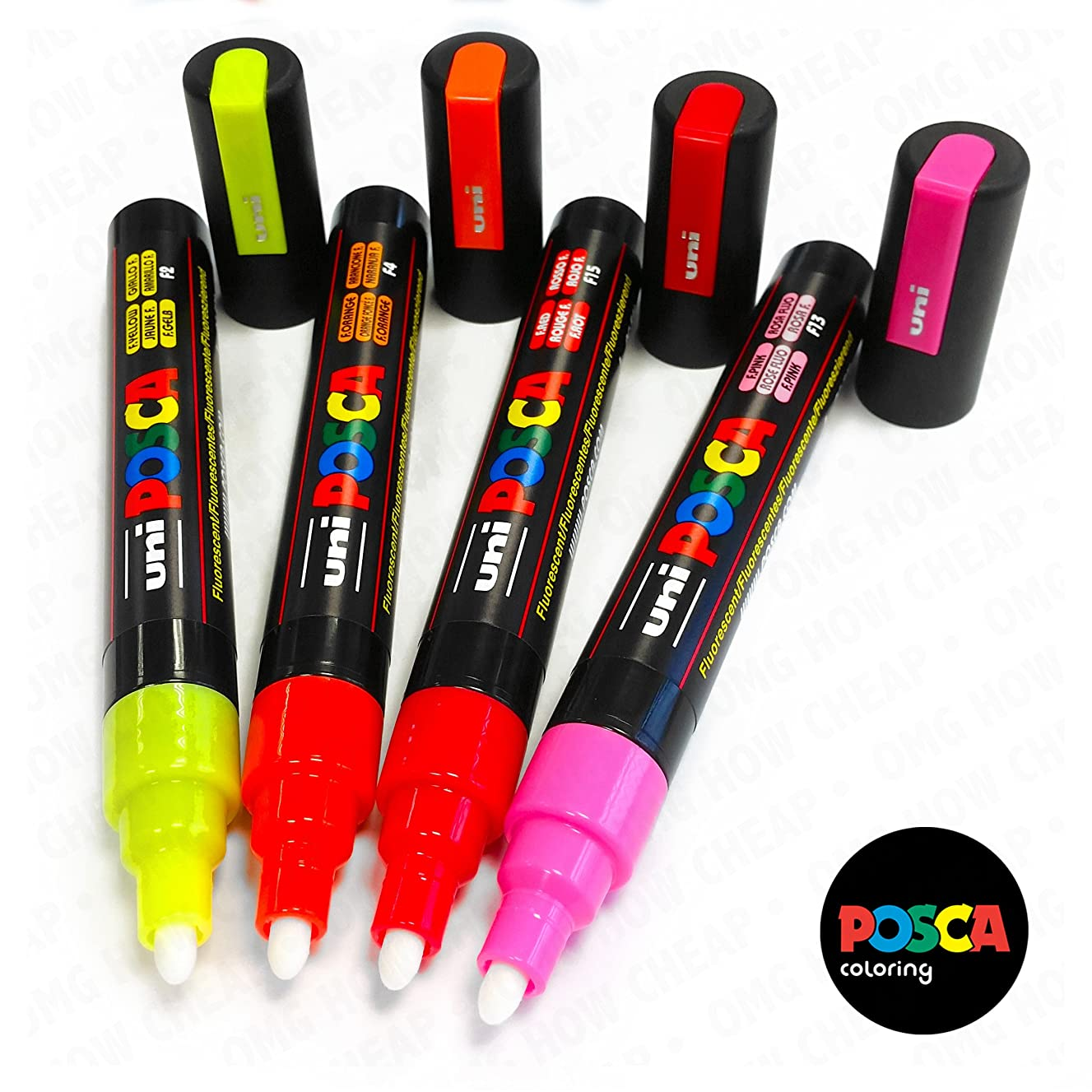 POSCA Colouring - PC-5M Fluorescent Paint Marker - Set of 4 - In Wallet