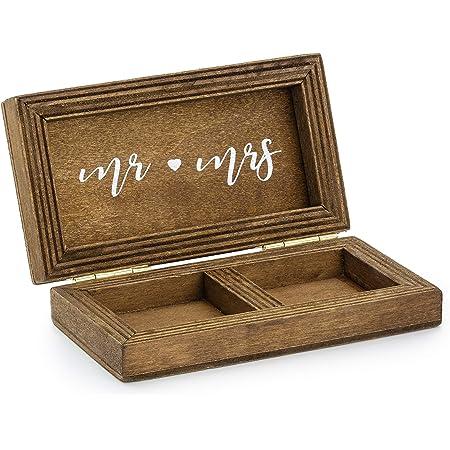 Party Deco - Scatola per fedi nuziali in legno, stile rustico