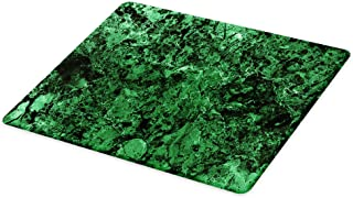 Lunarable Marble Cutting Board, Rocky Moss-Like Marble Structured Granite Material Surface View Nature Artwork Print, Decorative Tempered Glass Cutting and Serving Board, Large Size, Green