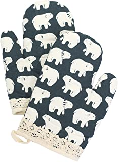 Yizi Zakka Cotton Oven Mitts, Polar Bear Pattern, Heat Resistant Potholders, Oven Gloves for Cooking, Baking, Microwave, 1 Pair