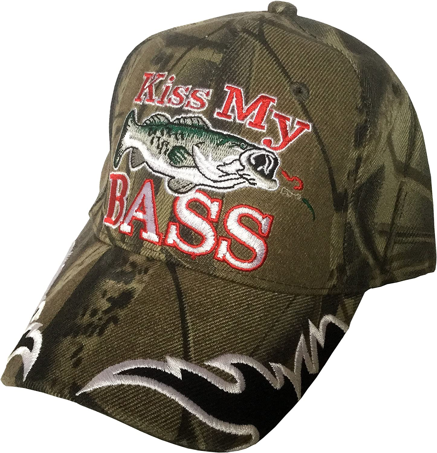 Kiss My Bass with Max 65% OFF Fish Fisherman Embroidered Hat Time sale Cap Baseball 3D