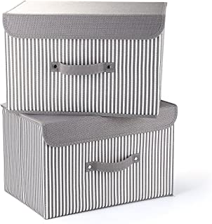MEE'LIFE Cajas de Almacenamiento Juego de 2 cestos de Tela Plegables Gris