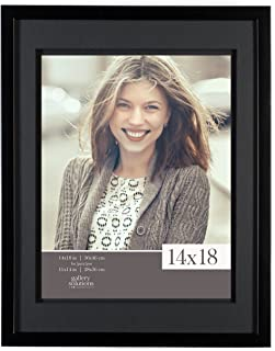 Gallery Solutions Black 14x18 Wood Wall Frame with Double Mat for 11x14 Image, 14