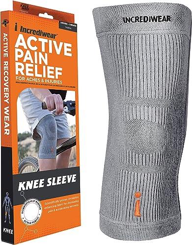 """Incrediwear Knee Sleeve, Grey, Large (14""""-16"""" Above Kneecap) Pack of 1"""