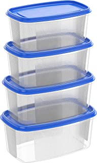 Cosmoplast 6291048141310 Plastic Food Storage Containers Oval 750 ml, 1.5, 2.5, 4 Liters Microwave, Freezer, and Dishwashe...