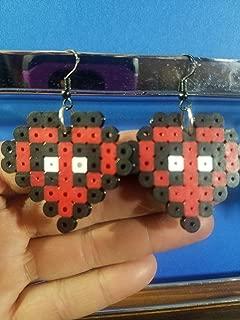 Deadpool Heart Perler Bead Earrings