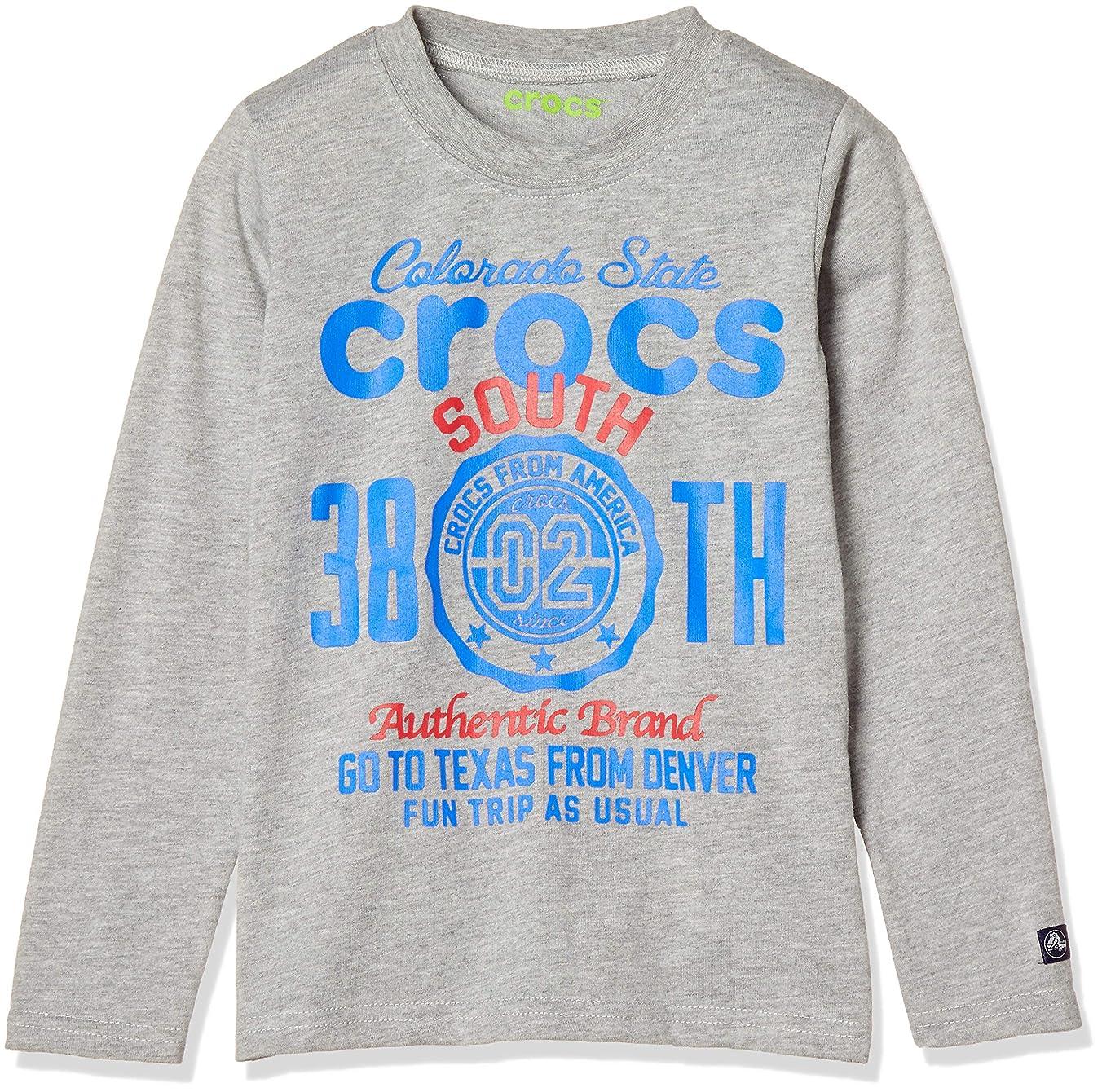 疑問を超えてライオン放つ[クロックス] CROCSかすれプリント柄長袖Tシャツ ボーイズ 119101