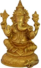 Aakrati Lord Ganesha Brass Blessing Religious Statue for Prosperity Yellow