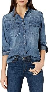 Goodthreads Amazon Brand Women's Denim Long-Sleeve Western Shirt, Medium Wash, X-Large
