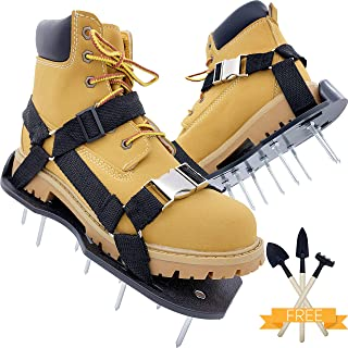 PBC Products Lawn Aerator Shoes with Supportive Straps and Metal Buckles, Heavy Duty Aerating Sandals with Metal Spikes for Lawn and Yard Grass Aeration, Withstand Up to 400LB