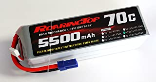 RoaringTop LiPo Battery Pack 70C 5500mAh 6S 22.2V with EC5 Plug for RC Car Boat Truck Heli Airplane