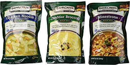 Bear Creek Country Kitchens Soup Mix 3 Flavor Variety Bundle: (1) Minestrone Soup Mix, (1) Cheddar Broccoli Soup Mix, and (1) Chicken Noodle Soup Mix, 9.3-11.2 Oz. Ea.