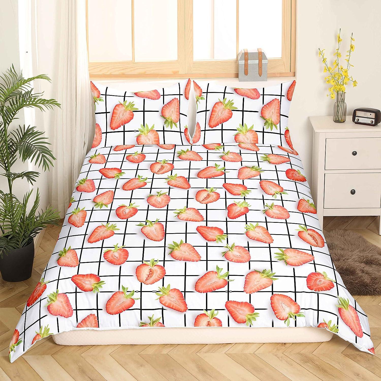 Kawaii service Strawberry Bedding Set Comforter Cov Red Cheap Decor