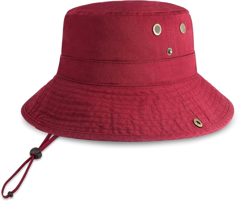 CHOK.LIDS Classic Cotton Wide Brim Bucket Hat with Adjustable String Trendy Unisex Sun Hat Lightweight Outdoor Travel Boonie