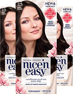 Clairol Nice'n Easy Permanent Hair Color, 2.5 Soft Black, 3 Count