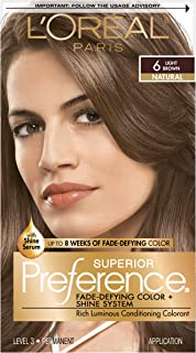 L'Oreal Paris Superior Preference Fade-Defying + Shine Permanent Hair Color, 6 Light Brown, 1 kit Hair Dye , 1 Count
