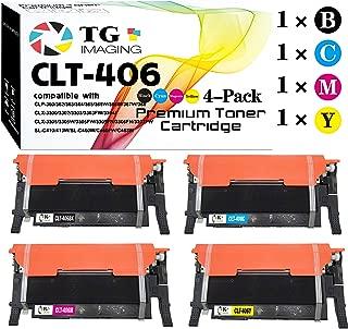 (4 Color Set) Compatible 406S CLT-406S Toner Cartridge, for Samsung CLX-3300 3305 CLP-360 365 Printers, Sold by TG Imaging (1XCLT-K406S, 1XCLT-C406S, 1XCLT-Y406S, 1XCLT-M406S)