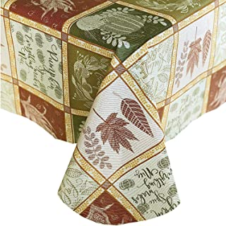 "Newbridge Harvest Breeze Jacquard Patchwork Fall and Thanksgiving Vinyl Flannel Backed Tablecloth - Autumn Print Kitchen and Dining Room Print Easy Care Print Tablecloth, 70"" Round"