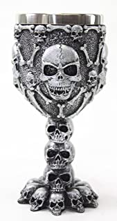 Silver Skulls & Bones Wine Goblet Stainless Medieval Collectible Home Decor Gift Water Cup Halloween Horror Film Theme Party Ornament (G16598) ~ We Pay Your Sales Tax
