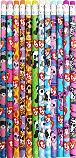 Ty Beanie Boos Number 2 Lead Pencils, 7.5 x 0.5 Inches, Pack of 12, Assorted Character Designs (815-6)