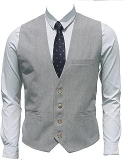 Ruth&Boaz Men's Linen Blend 3Pockets 4Buttons Summer Vest