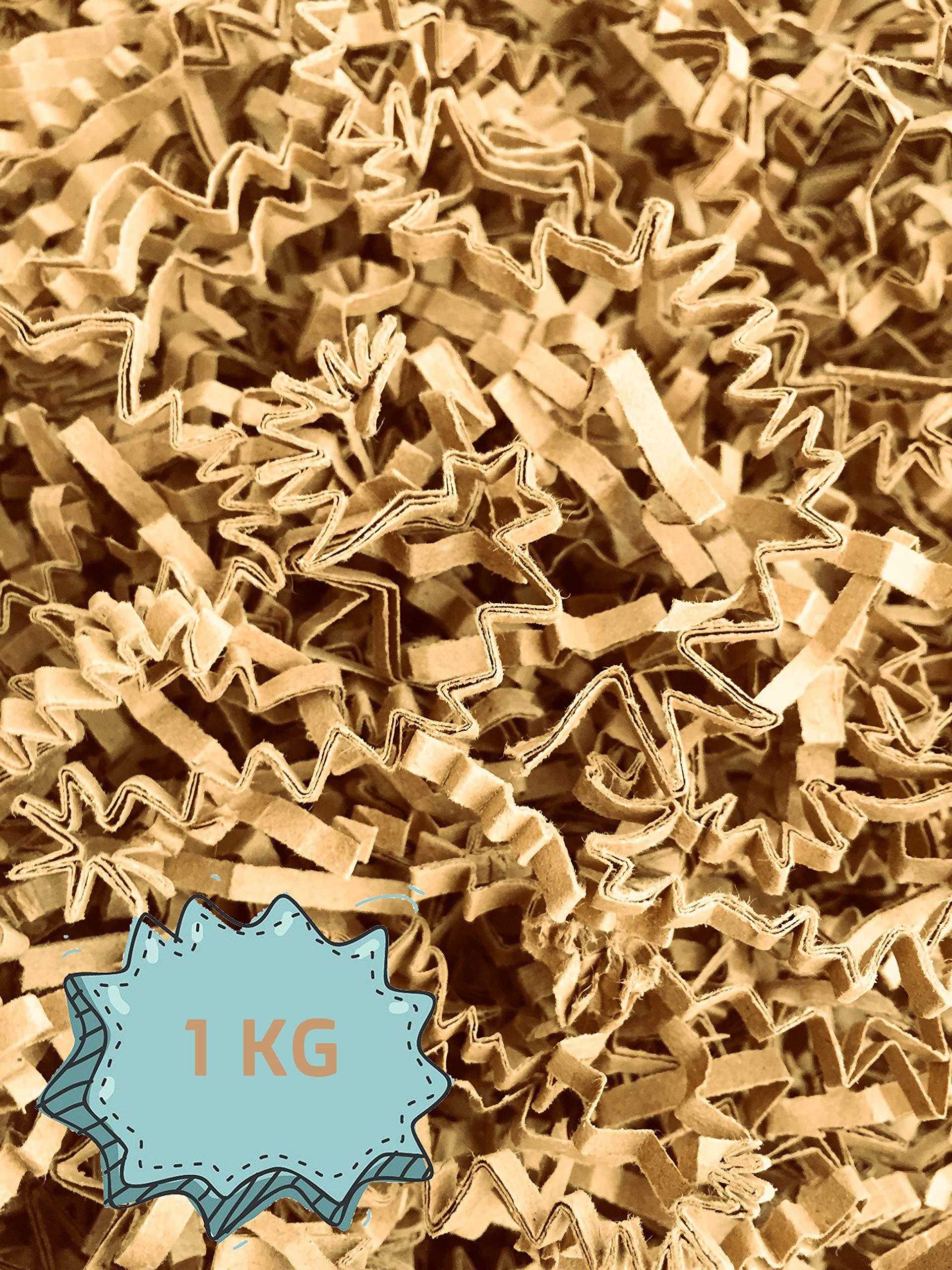 Wiits Natura   Papel Triturado Arrugado para Relleno y Decoración de Cajas   Paja Decorativa Virutas   Cajas regalo   Color Kraft   1 Kilogramo   Biodegradable y Compostable   Libre de Plástico: Amazon.es: Hogar
