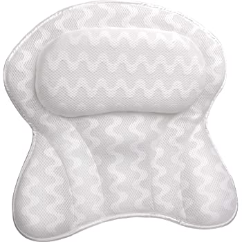 "Sierra Concepts Bath Pillow Spa Bathtub Ergonomic for Tub, Neck, Head, Shoulder Pillows Support Cushion Headrest - Luxury Soft 3D Mesh + Six Strong Grip Suction Cups Soaking Large 18"" x 18"", Paradise"