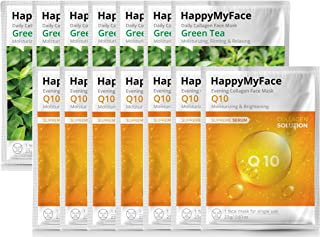 Happymyface Daily Collagen Face Mask Sheet, 14 packs, Anti-Wrinkle, Anti-Aging, Deep Moisturizing, Collagen Serum