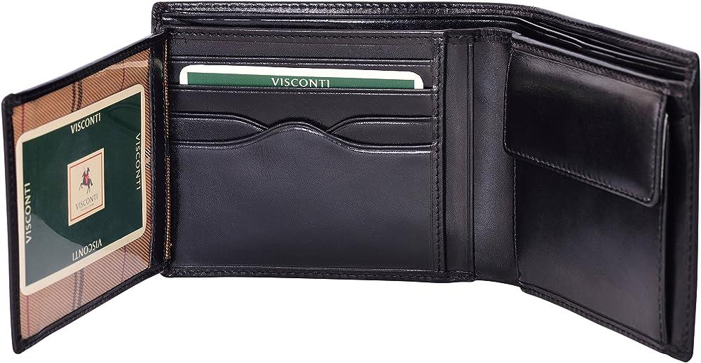 Visconti, porta carte di credito, portafoglio per uomo, in vera pelle, con protezione rfid, nero
