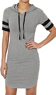 S~3X Casual Short Sleeve Stretch Cotton Jersey Hoodie Sweatshirt Dress