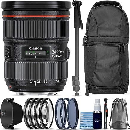 Canon EF 24-70mm f/2.8L II USM Standard Zoom Lens + Sling Backpack + Monopod + 3 Piece Pro Filter Kit + 4 Piece Close-Up Lens Set + Lens Pen + Lens Cleaning Kit Pro Travel Bundle photo